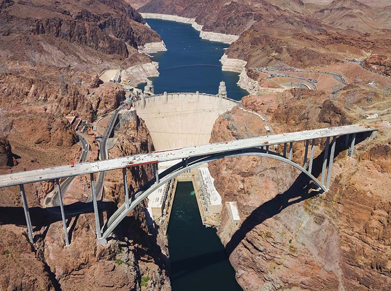 Hoover dam and Colorado river bridge's aerial view